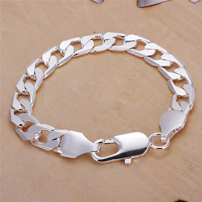 10MM Figaro chain bracelet 925 Sterling silver plated cool men's fashion jewelry Top quality Free Shipping