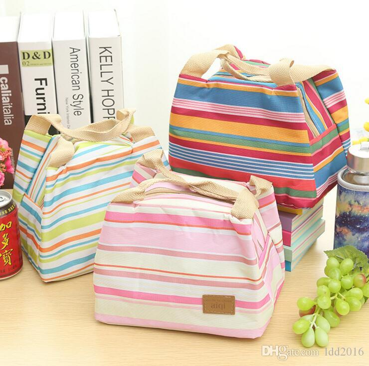 portable canvas stripe picnic lunch drink thermal insulated cooler tote bag carry case zipper lunch box bag 6 colors
