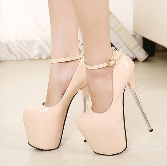 Size 34 43 Women High Heels Platform 20cm Japanned Leather Nude ...