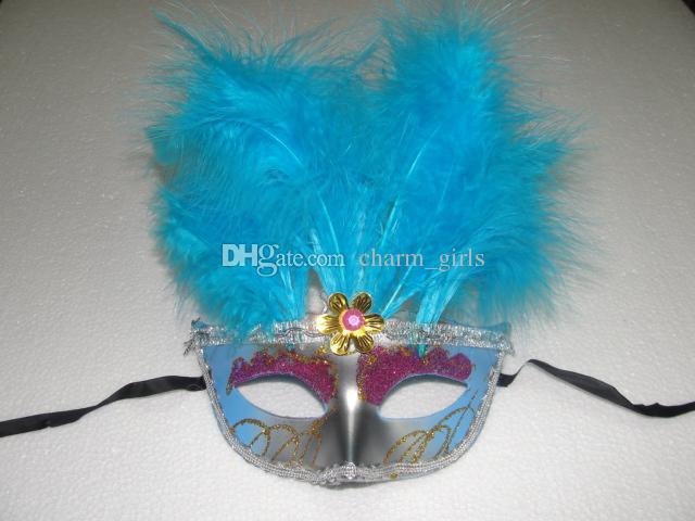 10 pçs / lote Metade Faces Máscara Veneziana com 11 belas penas Mardi Gras Masquerade Partido Traje de Halloween MASCARAS