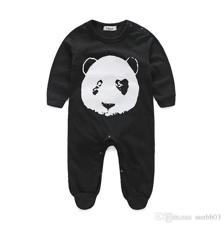 Primavera Bebê Panda Panda Macacões Infantil Boys Manga Longa Algodão Jumpsuits Kids Black Romper Bodysuits Crianças Escaladas Roupas 897