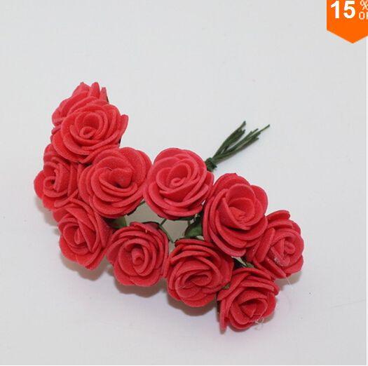 HOT Sale!!! 2.cm head Multicolor PE rose foam mini flower Bouquet solid color/Scrapbooking artificial rose flowers