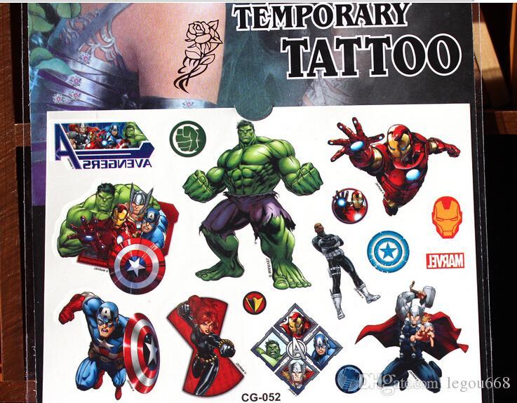 Il trasporto libero 30 pz / lotto Avengers adesivi tatuaggio impermeabile, meraviglia ironman capitano hulk, Rifornimenti del partito regali bambini giocattoli ragazzi bambino JIA030
