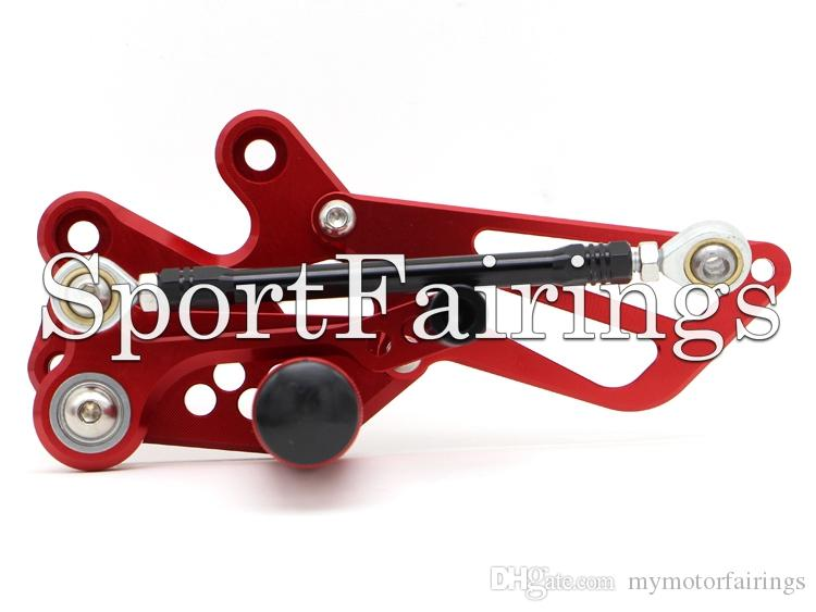Red Ajustable CNC Billet Rearset Rear Set Reposapiés Foot Set Footpegs Foot Peg Para Kawasaki EX250R Ninja 250 Año 08 09 10 11 12 Motocicletas