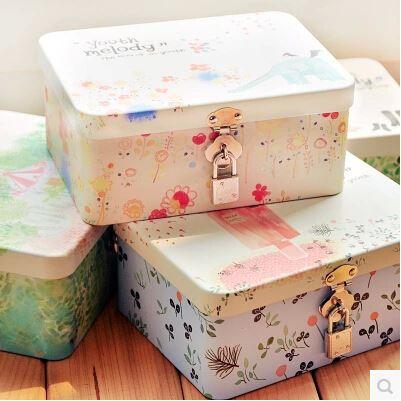 2018 Cut Cartoontin Box Storage Case With Lock For Kids Jewelry