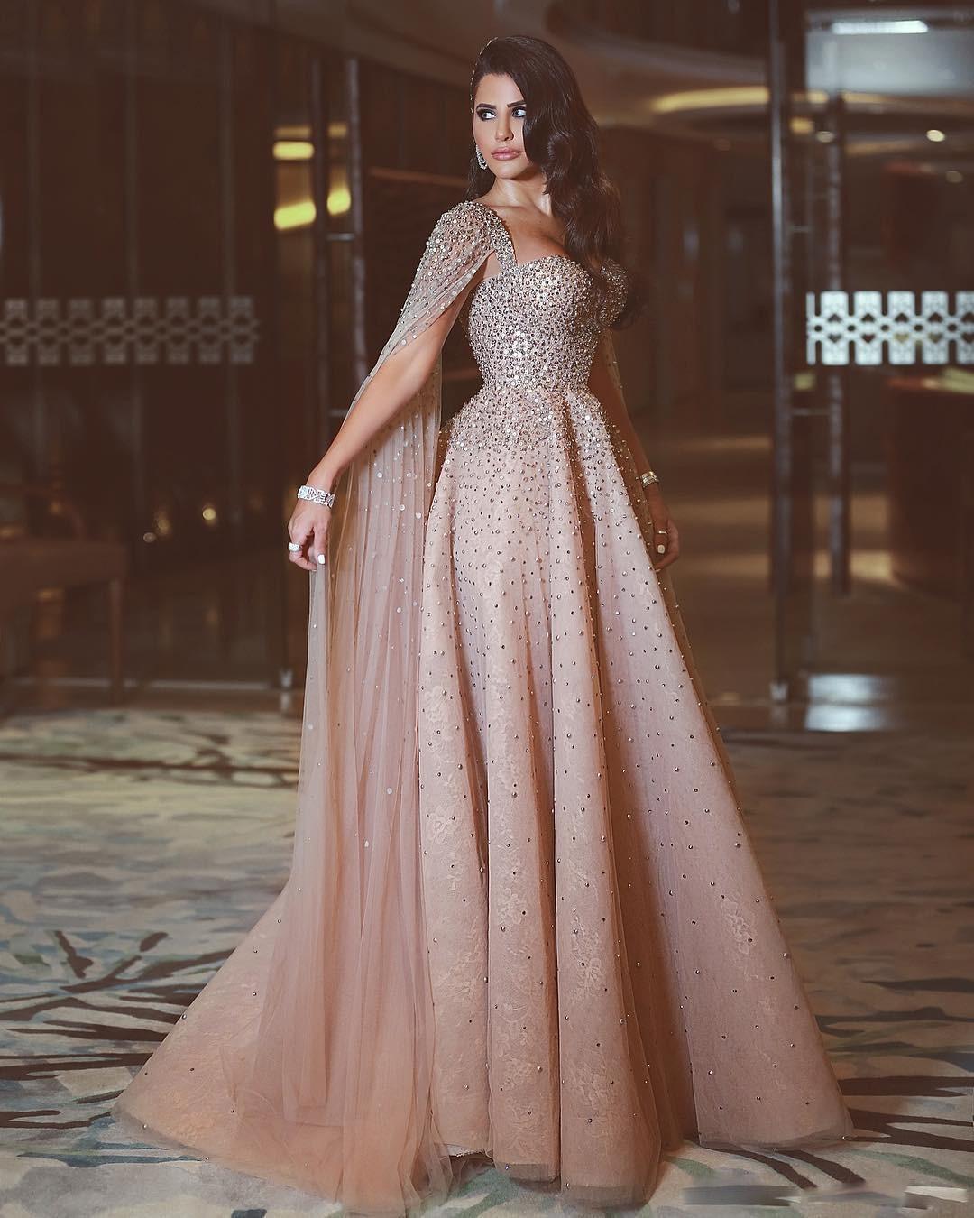 a99a8428a8 Luxury Evening Dresses 2018 Heavy Beaded Pearls Arabic Dubai Nude ...