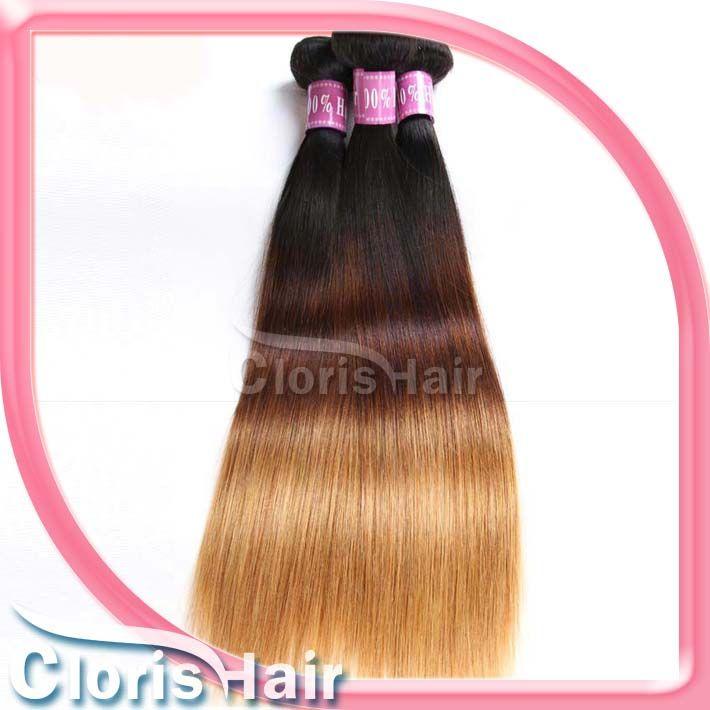 Capelli a tre tonalità a testa piena Tono peruviano capelli peruviani con chiusura di seta 3 Bundle Capelli capelli umani con chiusure pezzi 1b / 4/27