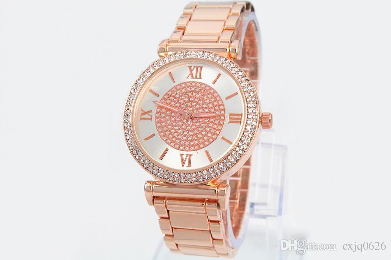 2019 vendita calda argento oro orologio da donna di lusso vendita calda orologi da polso da donna regali ragazza pieno acciaio inossidabile orologio al quarzo con strass