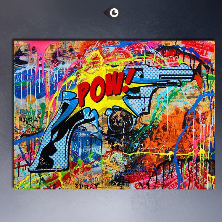 2018 mr brainwash pop art for pow andy warhol guns print for Mural painted by street artist mr brainwash