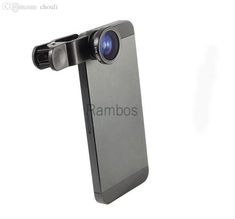Wholesale-3 in 1 Clip Camera Set Fish Eye Lens Wide Angle Macro Lens for  6 6 Plus 5 5S 4 4S for All Cell Phone