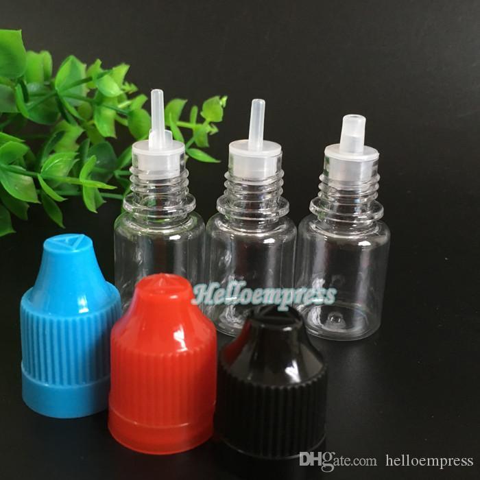 Garrafas de PET 5 ml garrafa de plástico transparente Frasco conta-gotas vazio com tampão de agulha tampão de criança E líquido e suco 5 ml pequena garrafa de óleo ecig