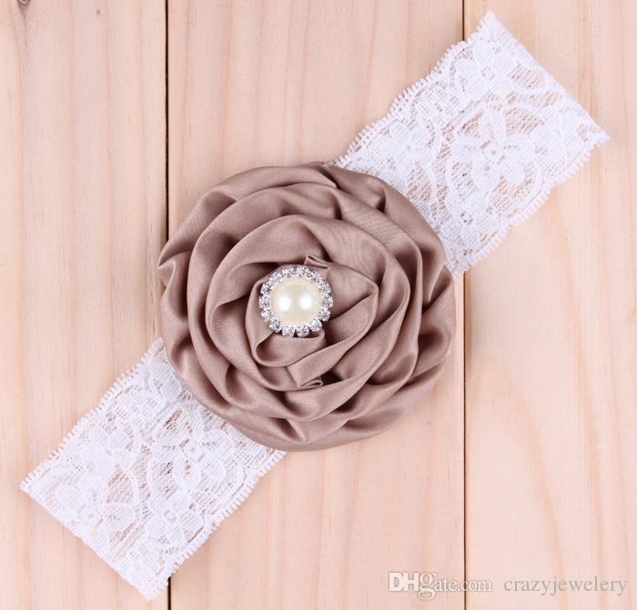 Baby Satin Rose Headbands Girl Pearl Diamond Lace Hairbands Children Hair Accessories Flower Hair band Kids Hair Ornaments Photography Props