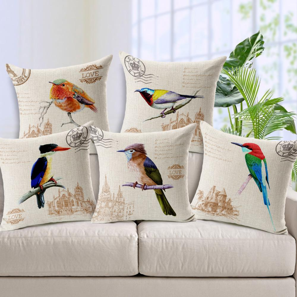 european hand painted cartoon bird rural pillowcase home