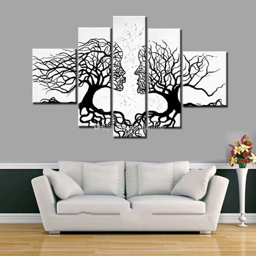 100% handgemaakte promotie zwart wit boom canvas schilderij abstracte kus art home decor olieverfschilderij op canvas 5 stuks unframed