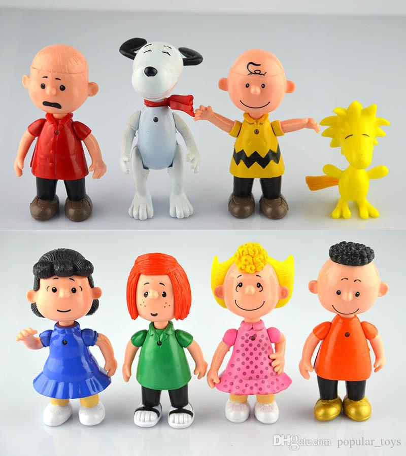 Hot Sale Peanuts Comics Charlie Brown And Snoopy Figures Toys 8 Styles Snoopy Action Figures Dolls Anime Figure Toys
