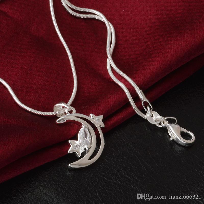 Livraison gratuite mode haute qualité 925 argent lune et étoiles Avec diamant 925 collier en argent Cadeaux de vacances Saint-Valentin chaud 1652