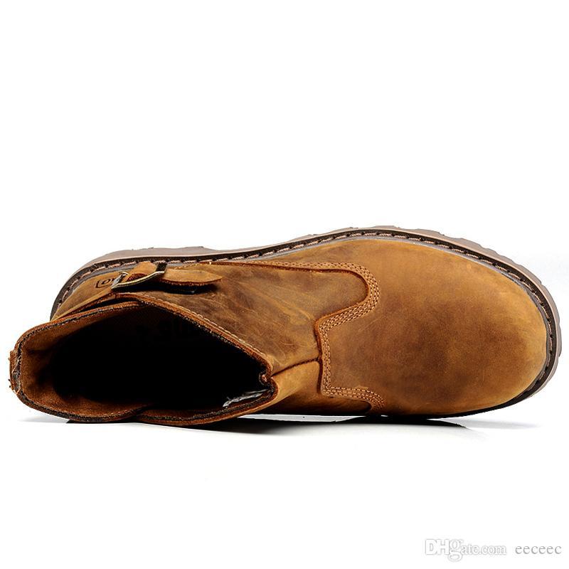 Taille US Haute Qualité Mens Véritable En Cuir Silp Sur Militaire Bottines Boucle Sangle Oxford Chukkas Hiver Chaussures