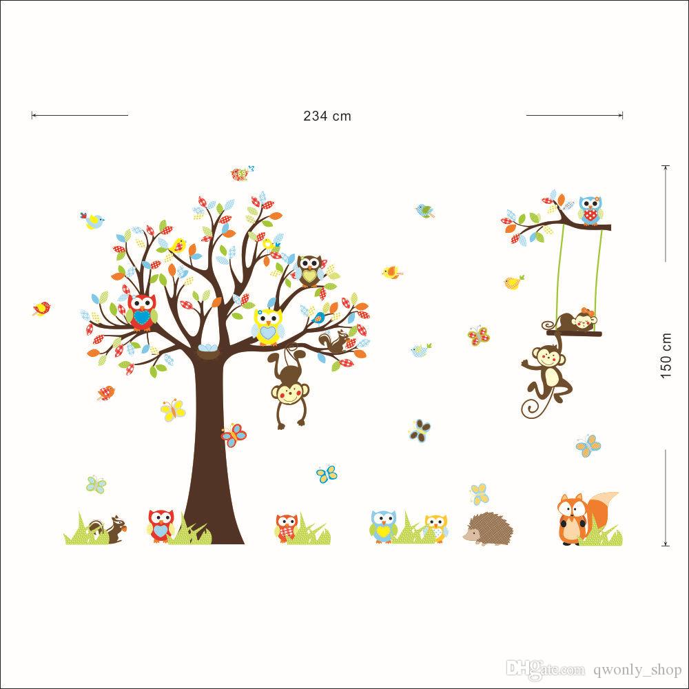 Large XL size Jungle Animals Owls Tree Wall Sticker Squirrel Monkey Bird Vinyl Mural Decal Kids Room Decor
