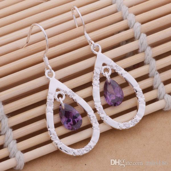 Смешанный заказ 12 пара / лот 925 стерлингового серебра ювелирные изделия Кристалл мотаться серьги мода партии сексуальная женщина высокое качество для бесплатная доставка