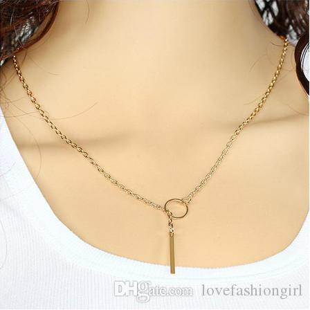 Collar de cadena Joyas Mujeres Breve Moda Círculo de aleación chapado en oro / plata / Correa de metal Gargantillas Collares de cadena de clavícula Venta al por mayor SN574