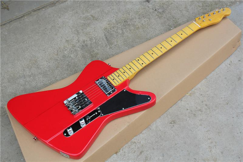Factory Wholokale Red Body F Bird Electric Guitar With Chromok HardwareRetro Yellow Maple NeckBlack Pickguard 17 11 Strap
