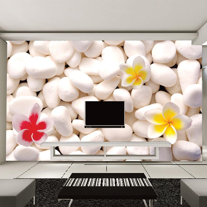 Wallpaper Bedroom Living Room Tv Backdrop Modern Fashion White Pebbles Stone Flowers Desktop Hd Widescreen High Resolution