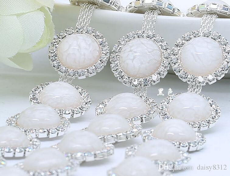 1 Yard Sparkle Rhinestones Crystal Silver Plated Round Pearl Ribbon Chain Trim Para elegir