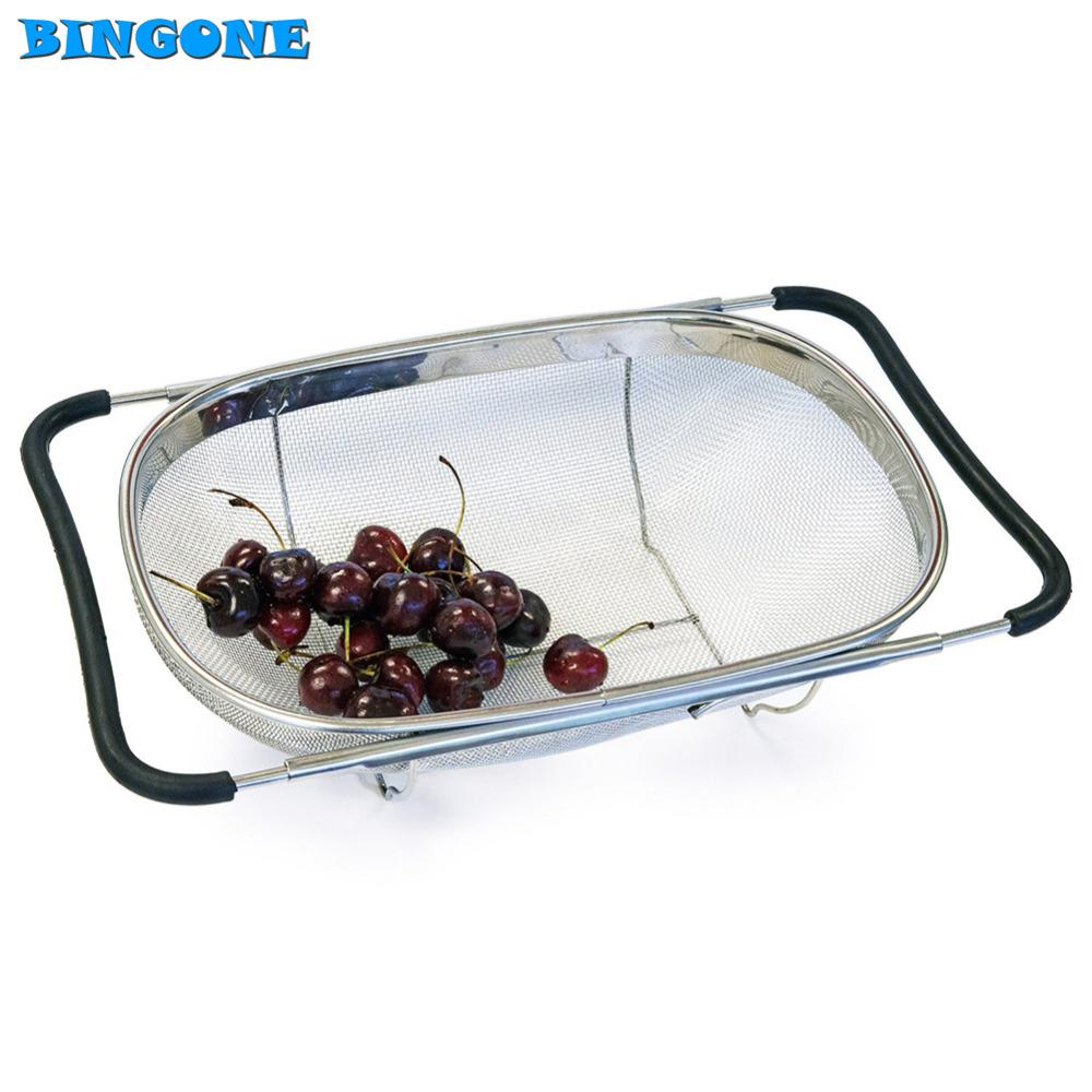 Pull Retractable Drain Basket Rack Stainless Steel