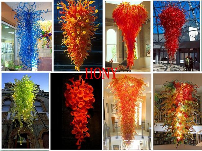 Blaue und grüne Geblasene Lampen Kronleuchter zum Verkauf Hand Glas Anhänger Licht Ausgezeichnetes Wohnzimmer Home Kunst Dekor