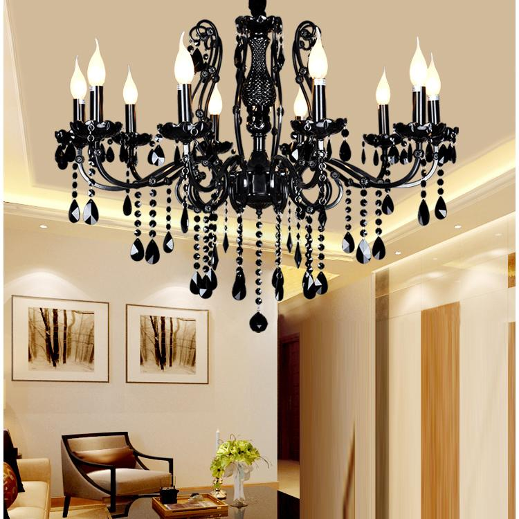 China Chandelier Light Modern Ceiling Chandeliers Black Glass Living Room Beautiful Crystal With For