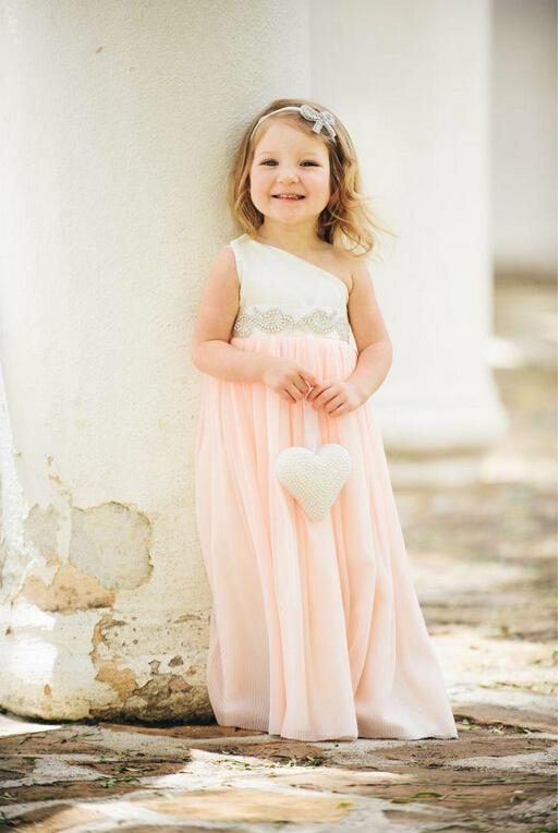 Cute One Shoulder Flower Girl Dress Floor Length Chiffon Satin Wedding Party Dress Beading Ribbon Formal Occasion Dress