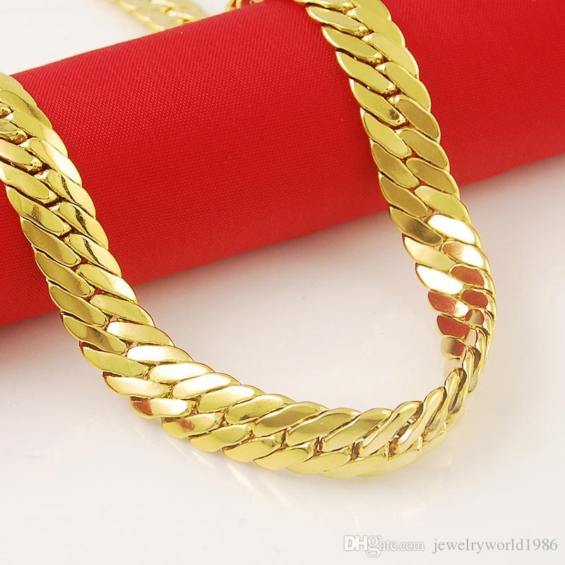 سريع شحن مجاني مجوهرات الزفاف الجميلة جديد حقيقي 24K قلادة من الذهب سلسلة أزياء بسيطة البرية فائقة رخيصة بالجملة أنيقة