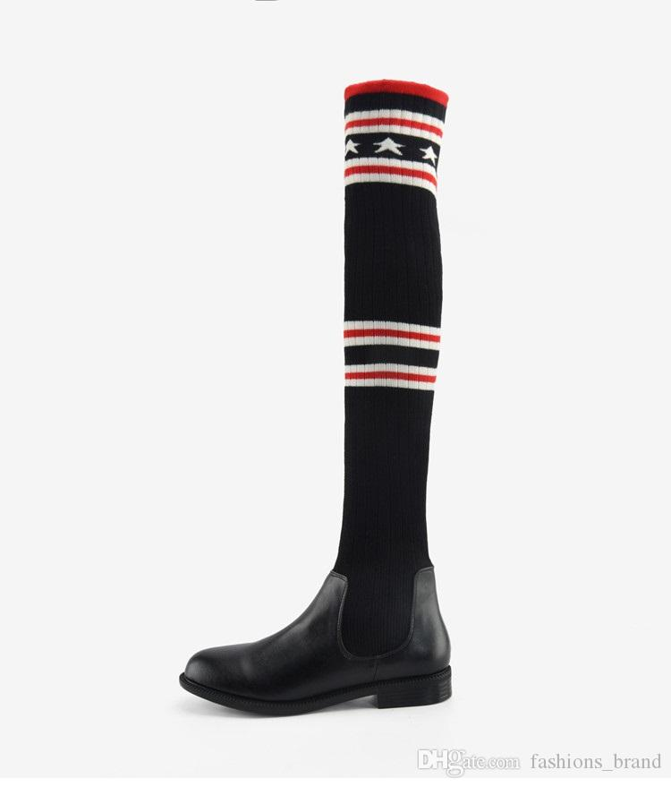 2017 Stretch Wool Knitted Stripe Star Over The Knee Boots Fashion Street Snap Black Leather Flat Long Booties For Women
