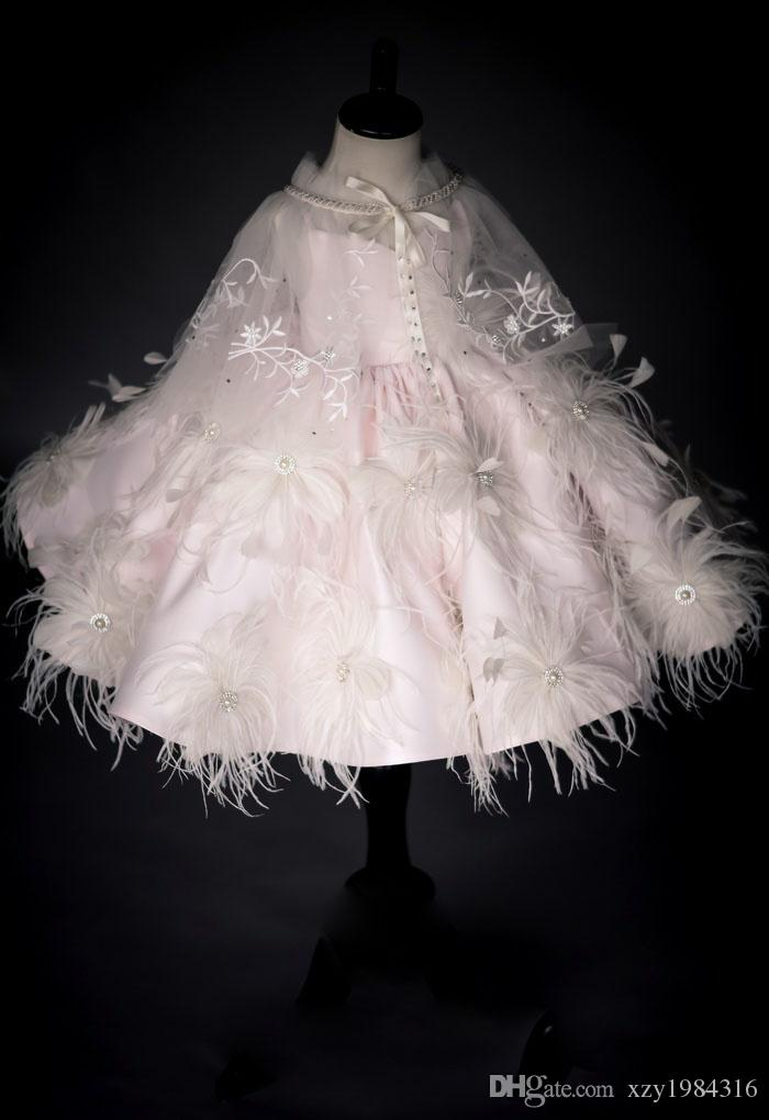Delicate Pale-Pink Flower Girl Dress With Wrap Beaded Feather Applique Girls Pageant Dress Satin Knee Length Kids Formal Gown Christmas Dres
