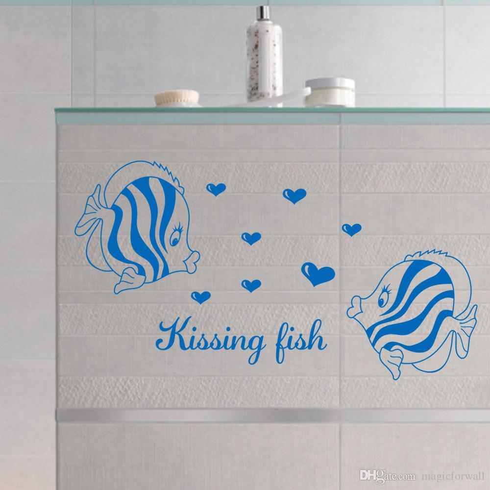 Öpüşme Balık Duvar Sanatı Duvar Posteri Dekor Ev Sanat Duvar Çıkartması Sticker Banyo Yatak Odası Dekorasyon Duvar Kağıdı
