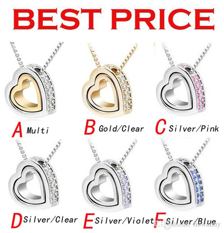 Top Grade Silver Jewelry Chain Necklaces Pendants Hot Sale Fashion Crystal Pendant Necklace For Women Girl Party Wholesale Free 0009LDN