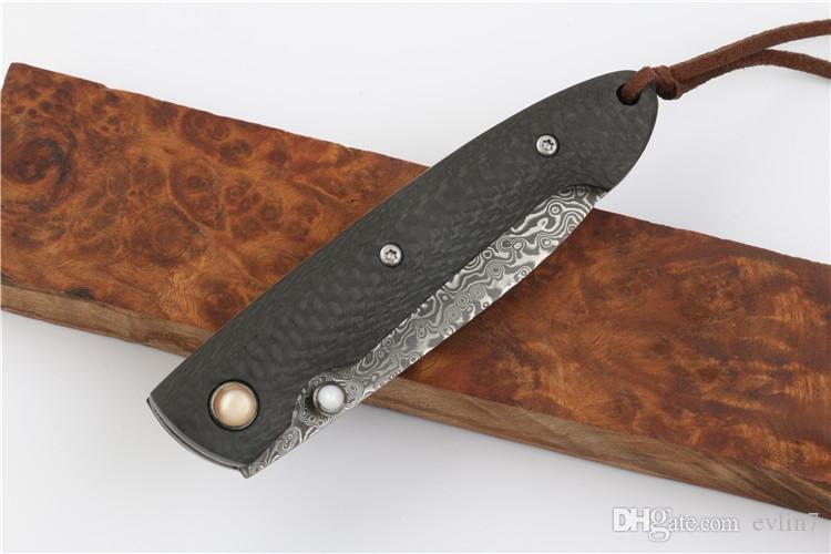 Top Quality New Damascus Pocket Coltello pieghevole in fibra di carbonio Maniglia campeggio esterna Escursionismo Coltelli da tasca EDC Coltello regalo con borsa in nylon