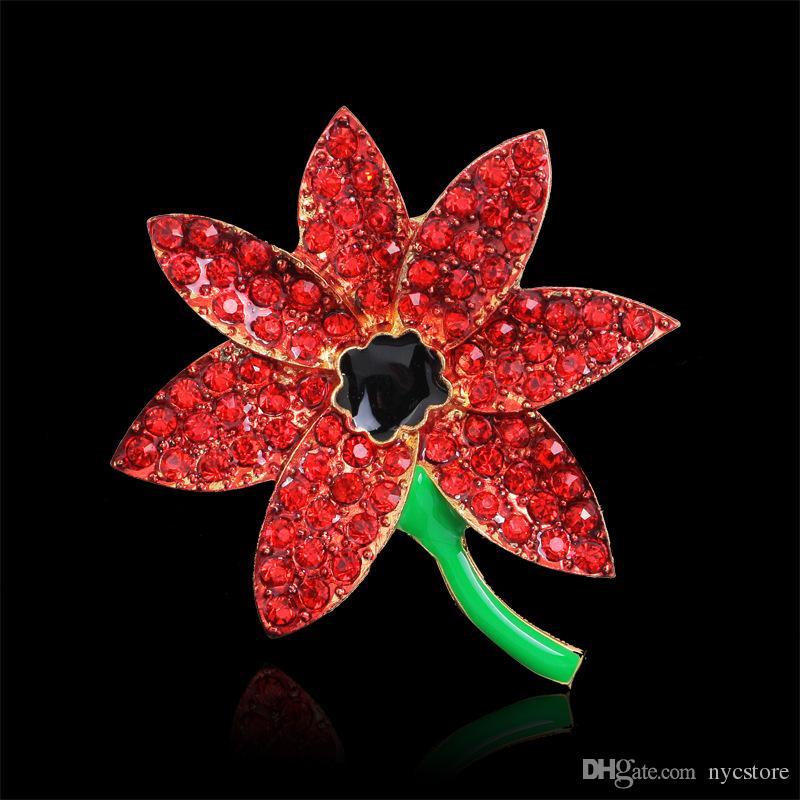 Red Poppy Flower Diamante Crystal Brooch Banquet Badge Spilla Pin Spilla in cristallo con perno