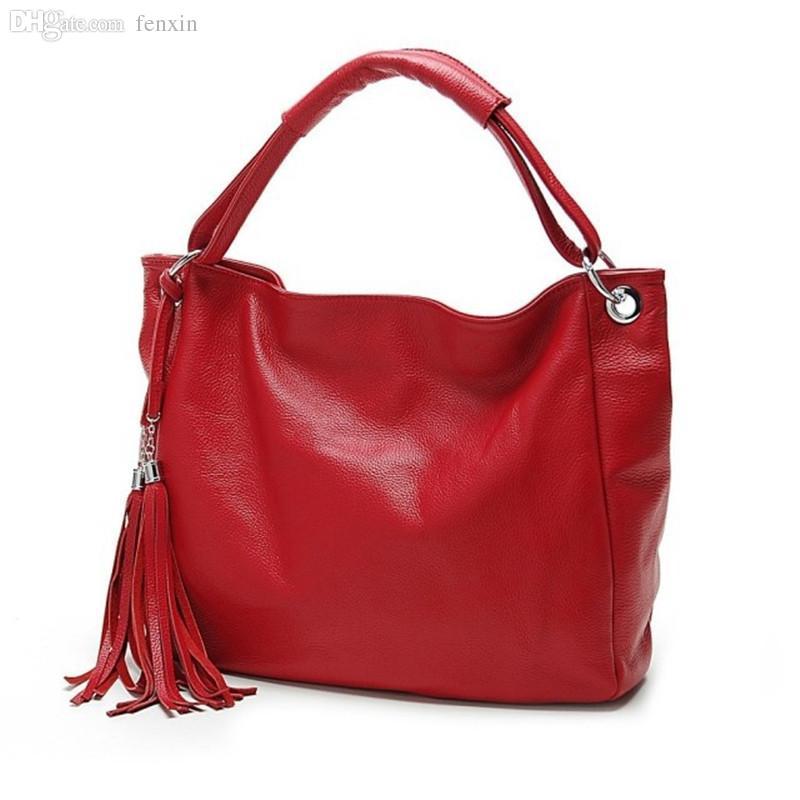 33bd1b7abc Wholesale-Women Leather Handbags Tassel Shopping Bag Big Bags ...