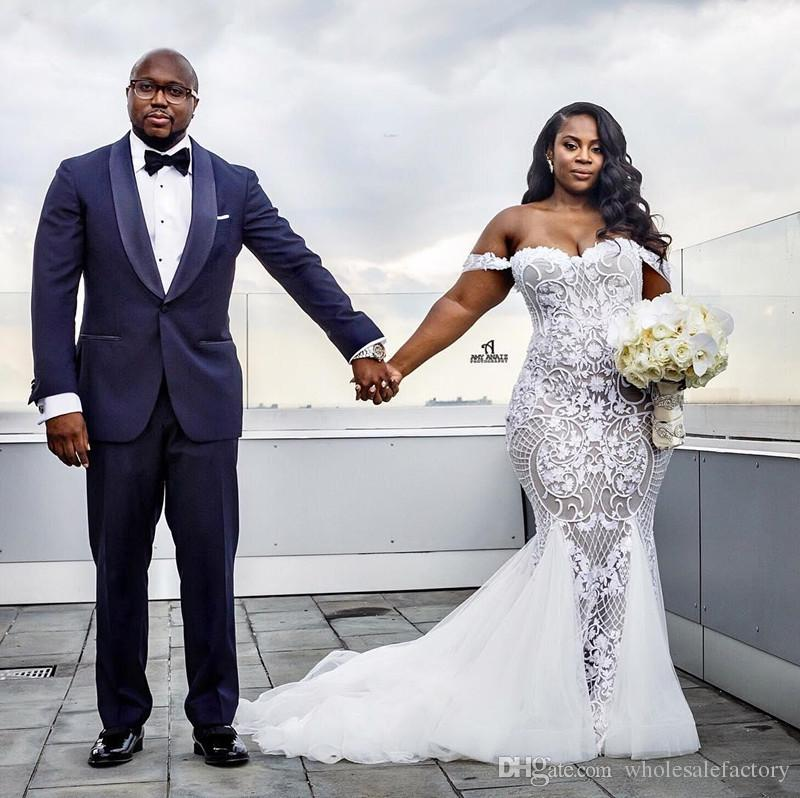 African Elegant Plus Size Lace Mermaid Wedding Dresses 2020 Off The Shoulder Tulle Appliqued Court Train Bridal Gowns Robe de soriee