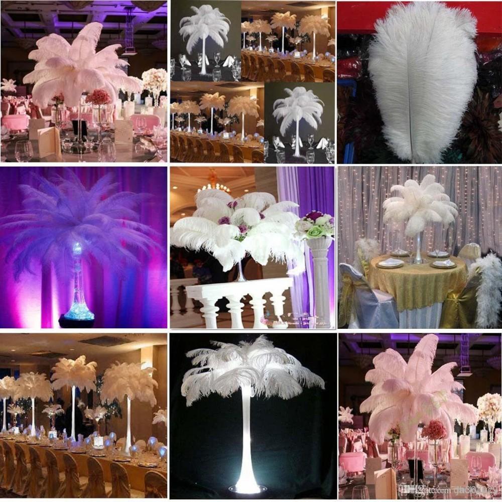 200 piezas por lote 10-12 pulgadas Pluma de avestruz blanca Suministros de artesanía Banquete de boda Mesa de Centro de Decoración Decoración Envío Gratis