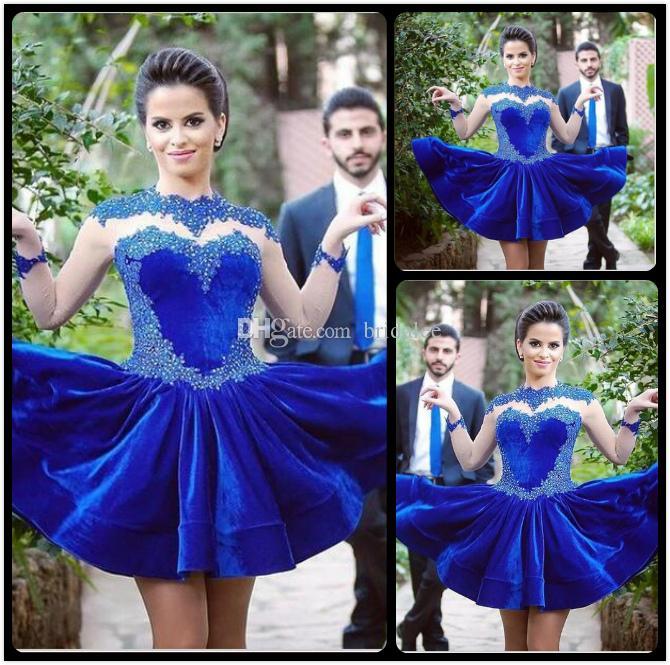 Королевский синий высокий вырез длинными рукавами линии бархат короткие платья выпускного вечера с кружевными аппликациями платье партии 2016 Курто халат де коктейль