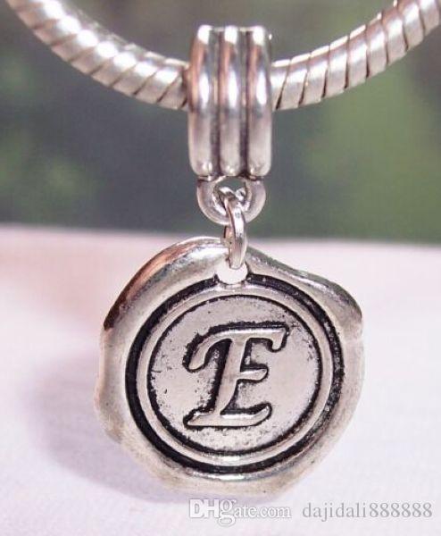 Sıcak ! 100 adet Antik Gümüş Karışık Tek taraflı Alfabe Dangle Boncuk Fit Avrupa Charm Bilezikler 27x19mm