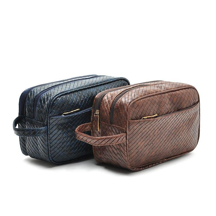 Attirant 2018 2015 Luxury Men Cosmetic Bags Knitted Leather Toiletry Bag Travel  Makeup Bag Make Up Case Wash Bag Cosmetic Organizer Clutch From Z799956998,  ...