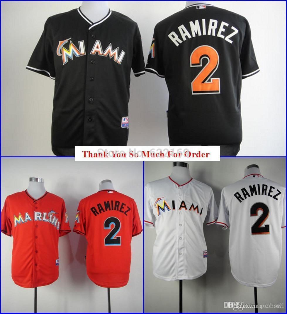 ... 2017 2015 New 2 Hanley Ramirez Jersey Miami Marlins Throwback Jerseys  Cool Base Mens Baseball Home ... 3a93dad7d