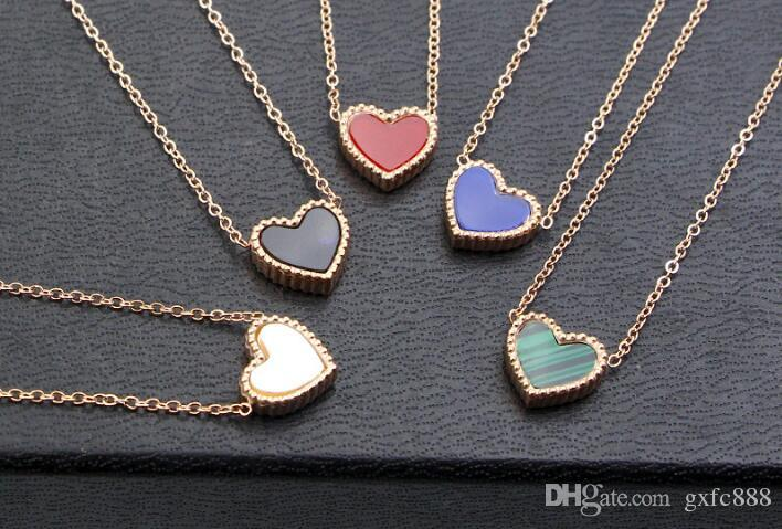 Hot sale small lace love necklace women 18k rose gold Japan and South Korea simple heart-shaped clavicle pendants