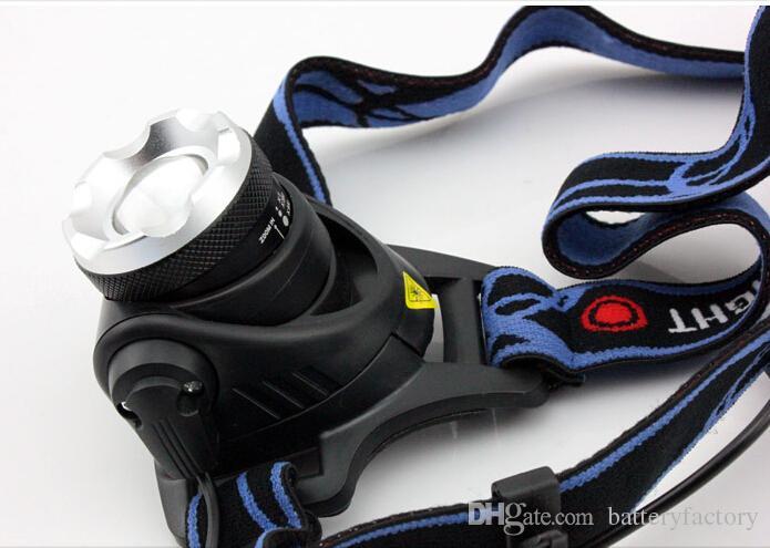Gratis Eppacket Toppkvalitet 2000 Lumens Headlamp Cree XM-L T6 LED-strålkastare för huvudlampa Torch LED ficklampa Huvudlampa med 18650 Batteri