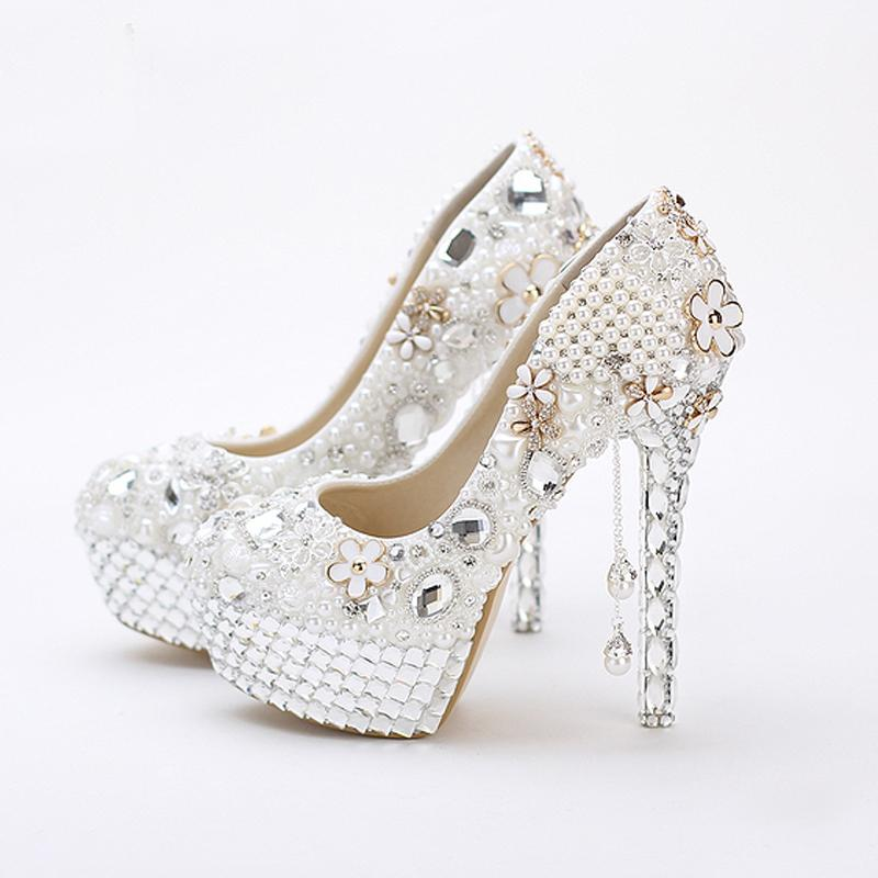 c0317b4946275 5 Inches Princess Crystal Wedding Shoes White Pearls Women Wedding Shoes  Tassel Prom High Heesl Wedding Anniversary Party Shoes