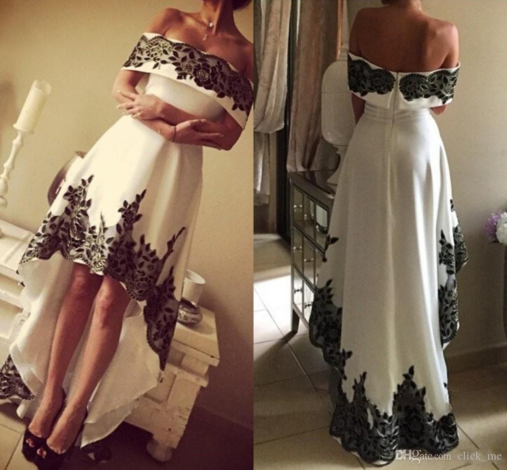 Off Shoulder Party Dresses Black White High Low Lace Appliques Cheap ...