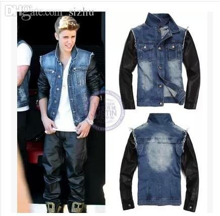 Fall 2015 Christmas Justin Bieber Jackets Metal Buttons Denim